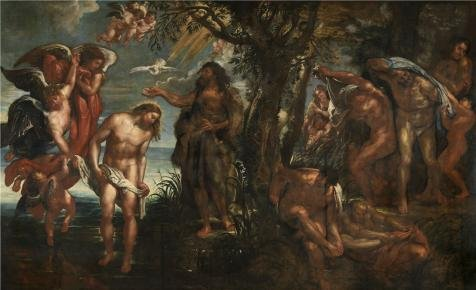 Perfect Effect Canvas ,the Best Price Art Decorative Canvas Prints Of Oil Painting 'Peter Paul Rubens,The Baptism Of Christ,1577-1640', 18x30 Inch / 46x75 Cm Is Best For Dining Room Artwork And Home Artwork And Gifts