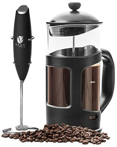 Professional Grade 34 oz French Press Coffee Maker & Premium Milk Frother With Stainless Steel Stand - Save Time & Money With Homemade Lattes! Spice Up Your Countertop & Taste Buds Every Morning!