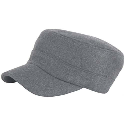 RaOn A156 Pre-curved Wool Winter Warm Simple Design Club Army Cap Cadet Military Hat (Gray)