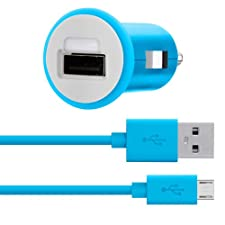 Belkin MiXiT Car Charger + Micro USB Cable for Amazon Fire Phone, all Kindle and Kindle Fire Models, 4 Feet (Blue)