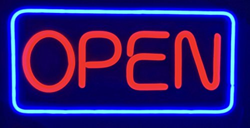 "Jumbo Extra Large 24""12"" Rectangular Vivid Bright Color Display LED Open Sign/Light - NEON Tube Style Open Signs - for Retail Store Shop Office Restaurant Business BAR"