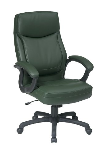 Executive Eco Leather Chair with Color Match Stitching Green