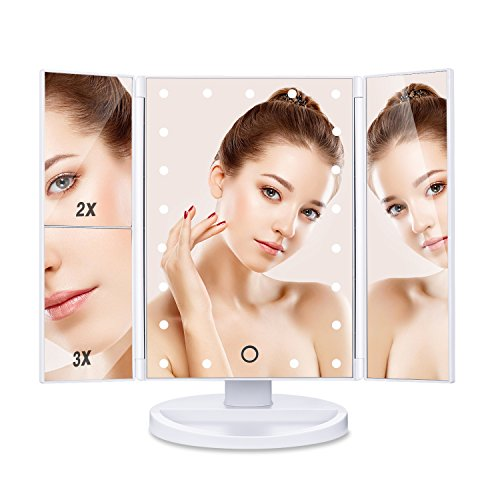 Halloween Contacts Lenses (HAMSWAN SM217-DL Makeup Mirror Touch Screen LED Foldable 180 Degree Rotation 1X 2X 3X Magnifying Mirror for Home Beauty)