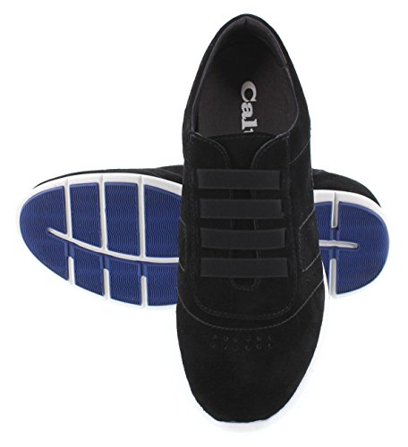 CALTO Y1033-2.4 inches Taller - Height Increasing Elevator Shoes - Black Suede Fashion Sneakers footlocker online clearance free shipping i27xivpXT5