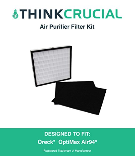 Replacement Filter Kit Designed to fit Oreck OptiMax® Air 94 Includes: Air Purifier Filter & 2 Carbon Filters Fit Oreck Air94 Air Purifiers, Designed & Engineered by Crucial Air