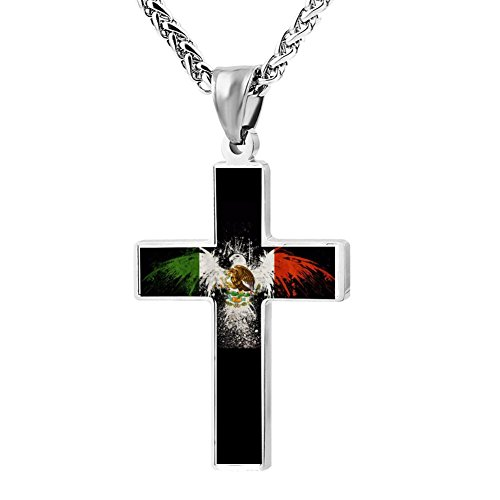Elelab Fashion Mexican Flag Bird Cross Necklace Zinc Alloy Pendant Creative Personalized Accessories Prayer Christian 24 Inch