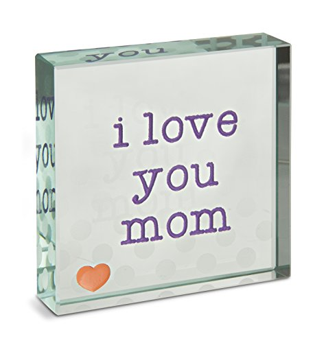 Mother Plaque Glass (Pavilion Gift Company 14153 I Love You Mom Glass Plaque, 3 x 3