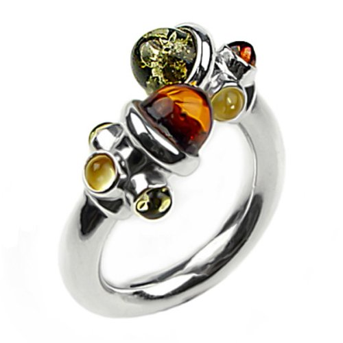 Multicolor Amber and Sterling Silver Adjustable Designer Ring