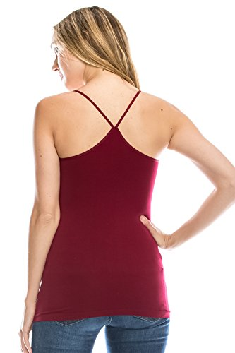 (Kurve American Made Y-Back Spaghetti Strap Basic Cami, UV Protective Fabric UPF 50+ (Made with Love in The USA) Burgundy)