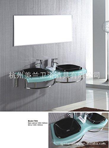 Gehärtetes Glas Badewanne, Waschbecken und Wasserhahn Behälter Mixer Tippen,8.18 Frische Einfache Stahl, Glas Doppel Waschtisch Waschbecken, 1200*520