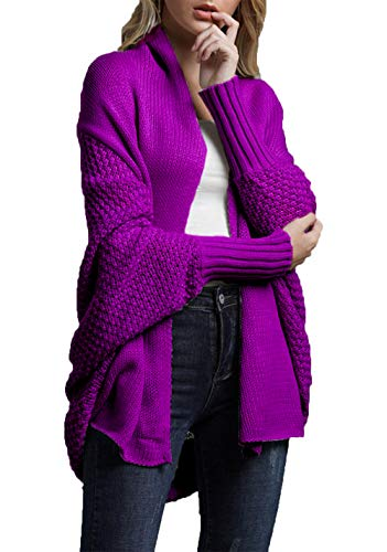 HZSONNE Women's Casual Long Bat Wing Sleeve Open Cardigan Chunky Crochet Slouchy Wrap Sweater Blouse Knitted Tops (Purple, One Size)