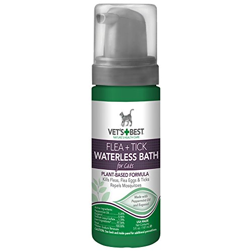New for Cats Vet's Best Natural Flea and Tick Waterless Bath Foam, 5 oz, USA Made