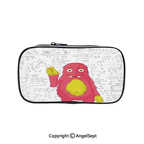Bag Pen Case Felt Students Stationery Pouch Zipper Bag,Funny Smart Monster Doing Math on Wall Science Nerds Comic Illustration Decorative Pink Yellow White 5.1inches,for Pens,Pencils,and Other School
