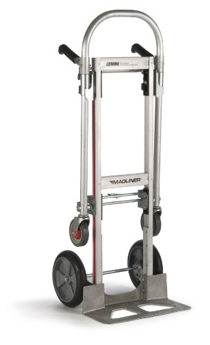 Magline GMK16UAB Aluminum Gemini Jr Convertible Hand Truck, U Loop Handle, Cushion Wheels, 500lbs Capacity, 51