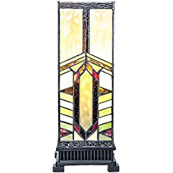 "17.25"" H Stained Glass Mission Style Stone Mountain Pillar Table Lamp"