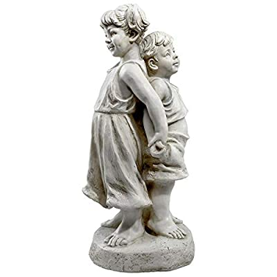 Design Toscano Back to Back Brother and Sister Garden Children Statue : Garden & Outdoor