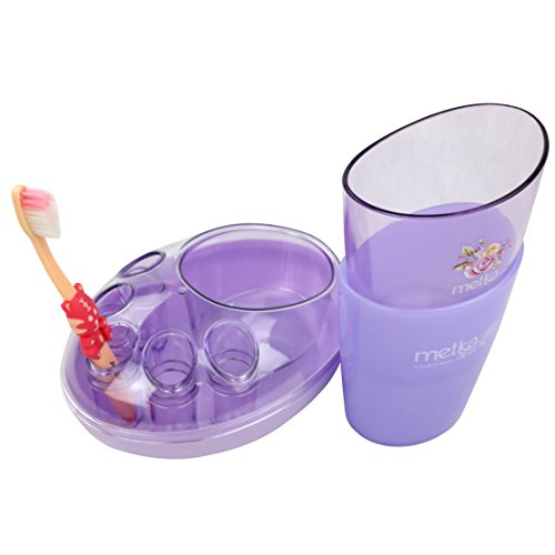 Ggbin Bathroom Accessories Set - Toothbrush Holder Stand With 2 Rinsing Cup (Purple)