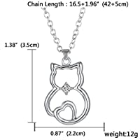 Cute Cat Sit Lovely Animal Pendant Necklace Gift for Women Girl