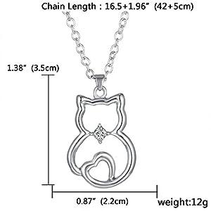 Cute Cat Sit Lovely Animal Pendant Necklace Gift for Women Girl