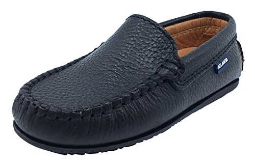 Atlanta Mocassin Boy's Pebbled Leather Loafers (Black, 29 M EU/12 M US Little Kid)