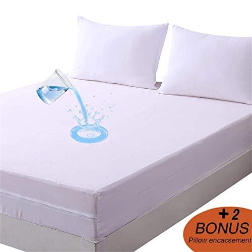 DOWNCOOL Zippered Waterproof Mattress Encasement Cover- Include 2 Bonus Pillowcase- Bed Bug Proof,...