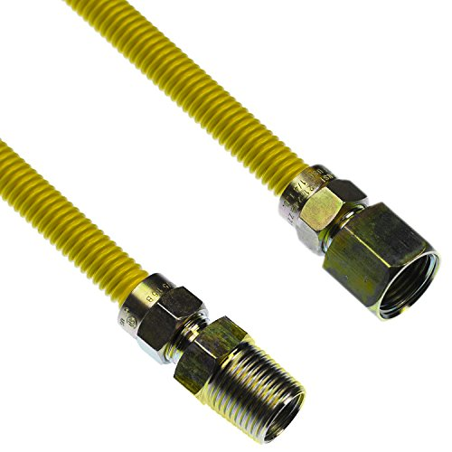 LASCO 10-1215 Flexible Coated Gas Appliance Supply Line, 72-Inch, 3/8-Inch OD Connector with 1/2-Inch MIP X 1/2-Inch FIP Fittings
