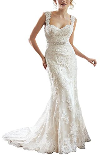 YIPEISHA Lace V-Back Sweetheart Neckline Cap-Sleeves Wedding Dress 10 Ivory by Unbranded*