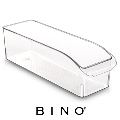 BINO Refrigerator, Freezer and Pantry Cabinet Storage Drawer Organizer Bin, Clear and Transparent Plastic Nesting Container for Home and Kitchen with Built-in Pull Out Handle, X-Small