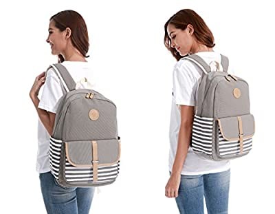 Causal School Backpack for girls teen Stripe style, Upgraded Canvas girls bag with YKK zipper, 15inch Laptop Bag Lightweight