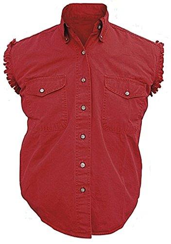 Mens Sleeveless Denim Cotton Twill Biker Shirt RED (Cotton Sleeveless Jeans)