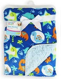 Baby Blanket Soft Colourful Mink Sherpa Lining Printed Design 0months+ 30° Wash - Blue Cars First Steps