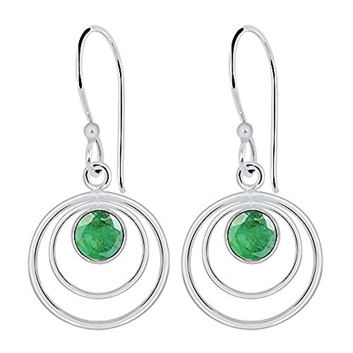 (Women's & Girls Round Shape Sterling Silver Emerald Earrings, Emerald Earrings Dangle, May Birthstone, Jewelry Gift Idea, Perfect For Birthday, Anniversary, Wedding, Mother Day (1.60 Cttw, 6 Mm))