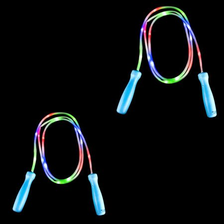 LED Jump Rope, 2 -Set Value Pack, Light Up Jump Rope, Glows -