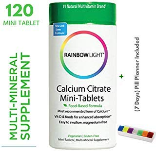 Rainbow Light - Food Based Calcium Citrate Mini-Tablets with Vitamin D3 Supplement (120 Tablets + Pill Box)- Supports Bones and Teeth, Enhances Calcium Absorption- Vegetarian, Gluten Free
