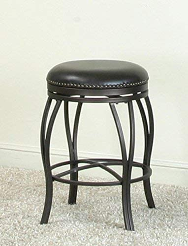 Pasarzad Home Traditional Backless Swivel Bar Stool in Oil Rubbed Bronze and Bonded Leather Seats with Nail Heads 30 Bar Height