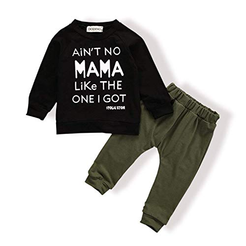 Baby Boy Clothes Funny Letter Printed Tops Leggings Pants Outfits Set for Toddler Boys (ArmyGreen, 3-4 T)