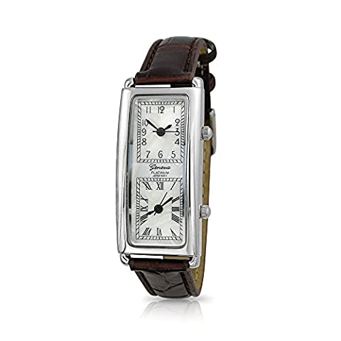 Bling Jewelry Dual Dial Brown Synthetic Leather
