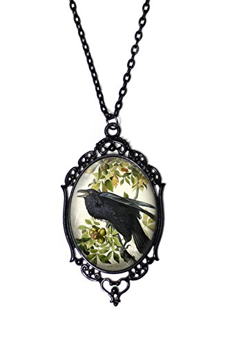 Project Pinup Crow & Fig Tree Cameo Necklace with Black Antique Frame on 18
