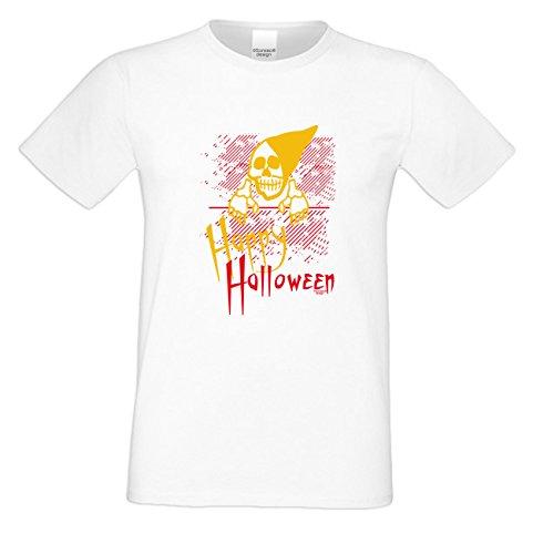 T-Shirt - Happy Halloween Skelett Shirt weiß - gruseliges Motiv Shirt für Leute mit Humor
