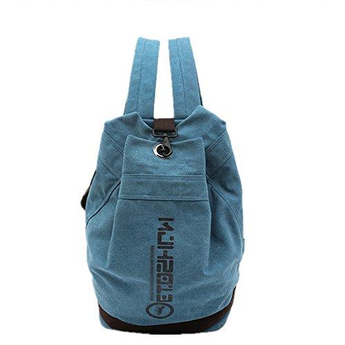 Price comparison product image MJH Unisex Bucket Form Extra Size Canvas Backpack Shoulder Bag Casual Daypack School Bag AL5046 blue