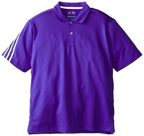 (adidas Golf Boys Climacool 3 Stripes Polo Shirt, Night Flash/White, X-Large)
