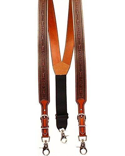 Nocona Belt Co. Men's Detail Tool Leather Suspender, tan, Medium (Best Suspenders For Tool Belt)