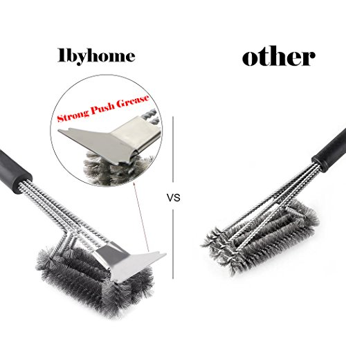 1byhome Barbecue Grill Brush Bristles 18'' Best BBQ Grill Brush Stainless Steel Woven Wire 3 in 1, Durable and Effective, Barbecue Tool by 1byhome (Image #1)