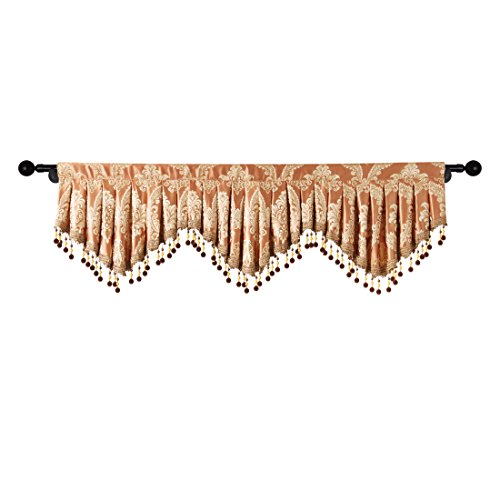elkca Jacquard Fixed Pleated Window Curtain Valance Living Room Scalloped Valance Kitchen Beaded Trim (Damask-coffee, W59) ()