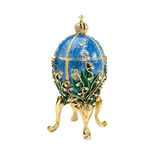 Design Toscano Empress Valentina Romanov Style Collectible Enameled Egg, 6 Inch, Pewter, Blue ()