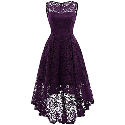 ONLY TOP Women's Vintage Floral Lace Sleeveless Hi-Lo Cocktail Formal Swing Dress Purple (Iron On Knee Patches For Snow Pants)