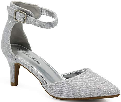 Enzo Romeo Jupiter37 Women s Pointy Toe Mid Heel Sexy Ankle Strap Sandals  Ballerina Dress Pump Ballet Wedding Harlow Pump Shoes (11 B(M) US a592d1edf3af