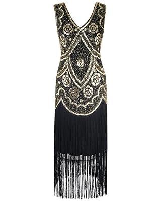 PrettyGuide Women 1920s Vintage Sequin Long Fringed Fancy Cocktail Flapper Dress
