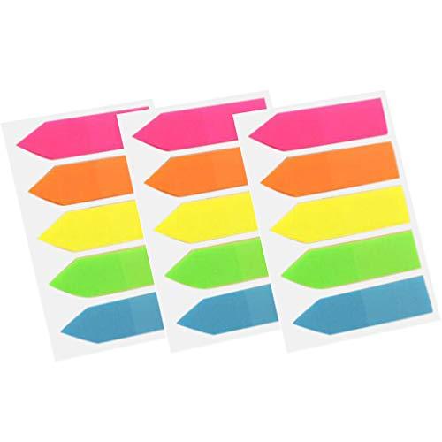 3PCs Nota adhesiva fluorescente de Fenebort para el marcador de página, marcadores de página de neón fichas de índice de...