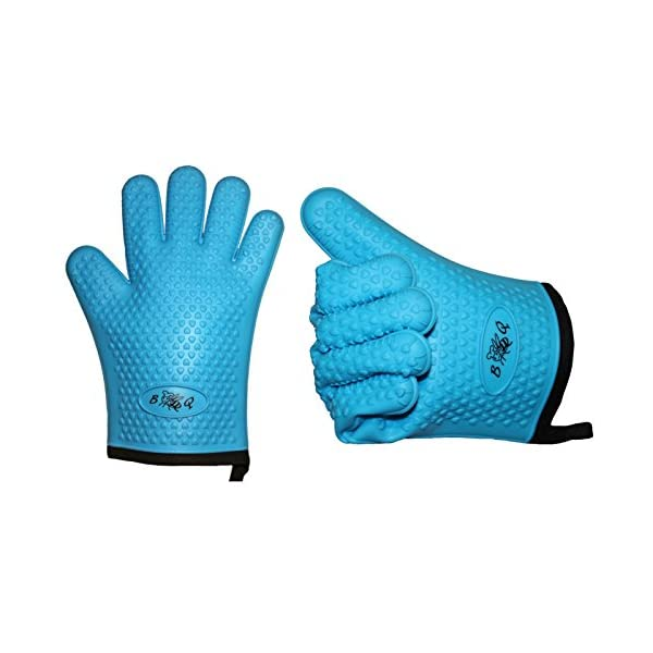 BBeeQ® - Set di due guanti da forno in silicone e cotone, in 7colori, resistenti al calore fino a 300°C, per grigliare, cucinare, mettere in forno. Guanti da cucina, guanti per barbecue., Blau 1 spesavip